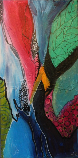 """""""Cocoon"""" Acrylic and Ink on Canvas (30x70cm)"""